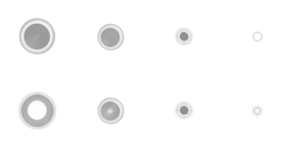 Die zwei Arten von MV-Kugeln im Übergang von einem entspannten (links) zu einem konzentrierten (rechts) Zustand.