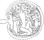 Möglicherweise die nackte Göttin (Ischtar), die die Stiere der Tageshitze erwürgt (Quelle: Du Mesnil du Buisson 1973)