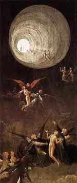 Hieronymus Bosch: Der Flug zum Himmel (1500-1504), Öl auf Holz, 87x40 cm