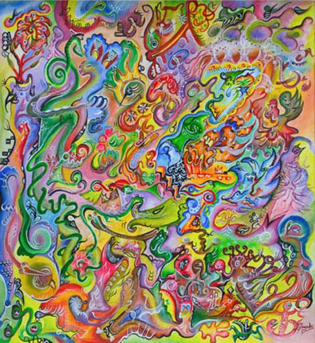 Elementare. Acryl auf Leinwand, 40 x 40 cm.