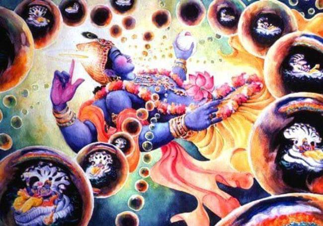 """Krishna hält das Universum zusammen """"wie die Schnur eine Perlenkette."""