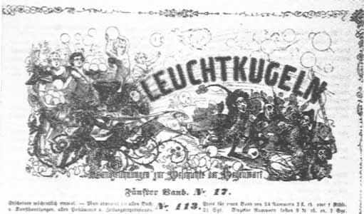 """Himmlische Leuchtkugelgeschosse gegen Konservative. Titelblatt von """"Leuchtkugeln"""", Nr. 113."""