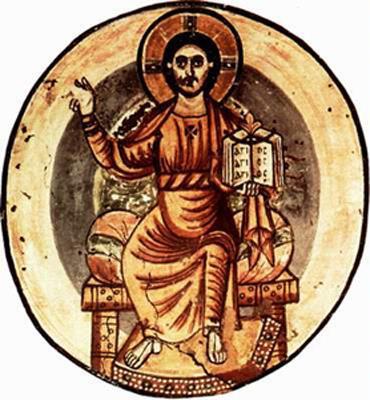 """Die """"Glorie"""" (gr. doxa) bzw. das göttliche Licht, das die Köpfe von Heiligen oder den ganzen Körper von Jesus umgibt, wird in der Kunst als Heiligen- oder Glorienscheine dargestellt."""