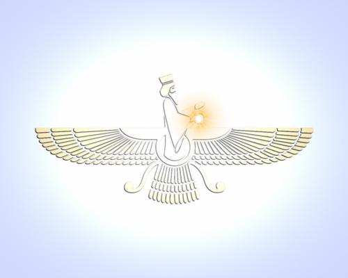 Faravahar – nach zoroastrischer Auffassung die Darstellung eines Fravashi. Asho Farohar-II von tehmul.