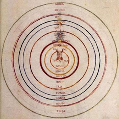 Darstellung der Sphärenharmonien: Miniatur einer astronomischen Handschrift, 9. Jh.