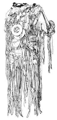 Rückseite eines Schamanenkostüms der Jakuten (Ostsibirien) aus Rentierleder, um 1900.