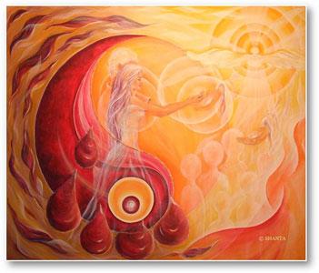 Shanta: Vergebung (2011, 1.20 x 1.00 m, Mischtechnik, Acryl auf Leinwand).