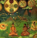 Thogal Adepten beim meditieren auf entoptische Lichterscheinungen.
