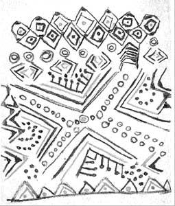 """Die Zeichnung des Tukano Biá von der Gruppe der Tatuyo stellt die Wahrnehmung """"nach drei Bechern yajé"""" dar: Das grosse diagonale Kreuz in der Mitte eröffnet einen Raum, der von Biá als Vagina interpretiert wird; die Kreise darin sind """"der Geschmack von Samen""""."""